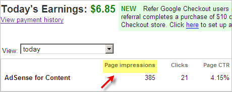 Adsense Page Impressions