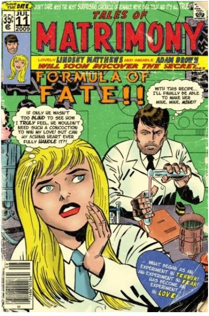 Comic Book Style Wedding Invitations Vintage Movie Posters
