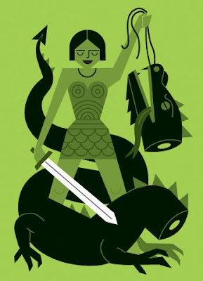 Beautiful stylised drawing of a woman and a decapitated dragon: the woman holds a sword in one hand and the dragon's head in the other