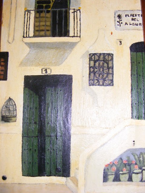 Cuadros y pinturas de Diegosax Fachada Típica de los Pueblos Blancos en la Sierra de Cádiz con Macetas, Rejas y Balcón Diegosax en un Cuadro al Oleo por diegosax
