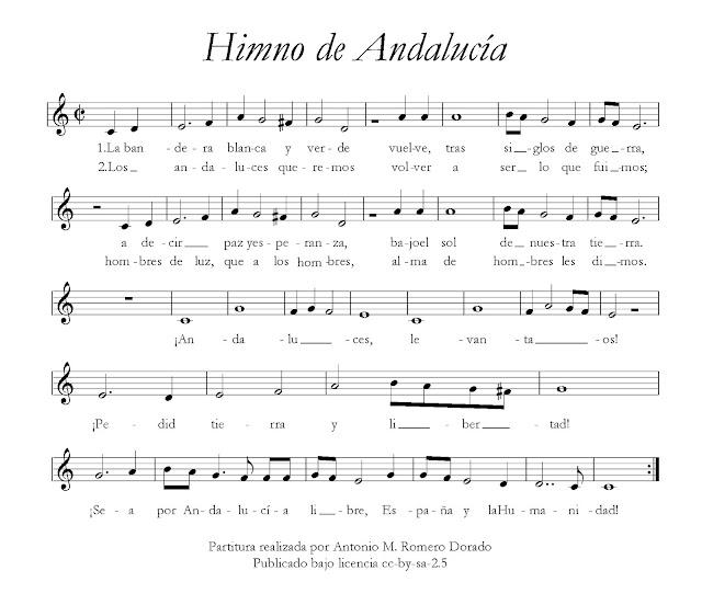 El Himno de Andalucía de Blas Infante Partitura Fácil con Letra para Flauta Trompeta Violín Clarinete Cornos... Letra, acordes y partitura para flauta del Himno de Andalucía