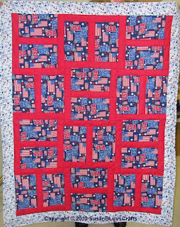 patriotic Happy Block quilt top