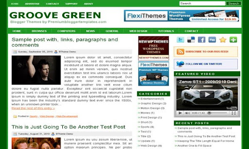 Groove Green Blogger Template