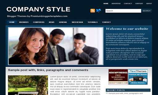 Company Style Blue Blogger Template
