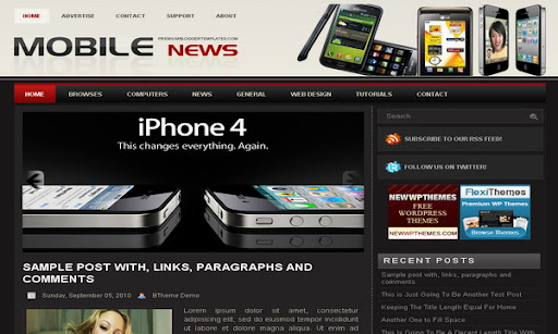 Mobile News Blogger Template
