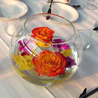 Chicago Wedding Flowers Floating Rose Centerpiece
