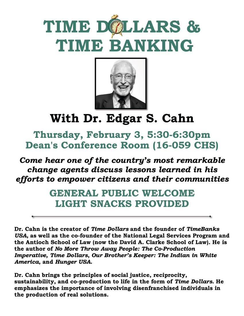 THE ECHO PARK TIME BANK: Hear Edgar Cahn speak at UCLA on
