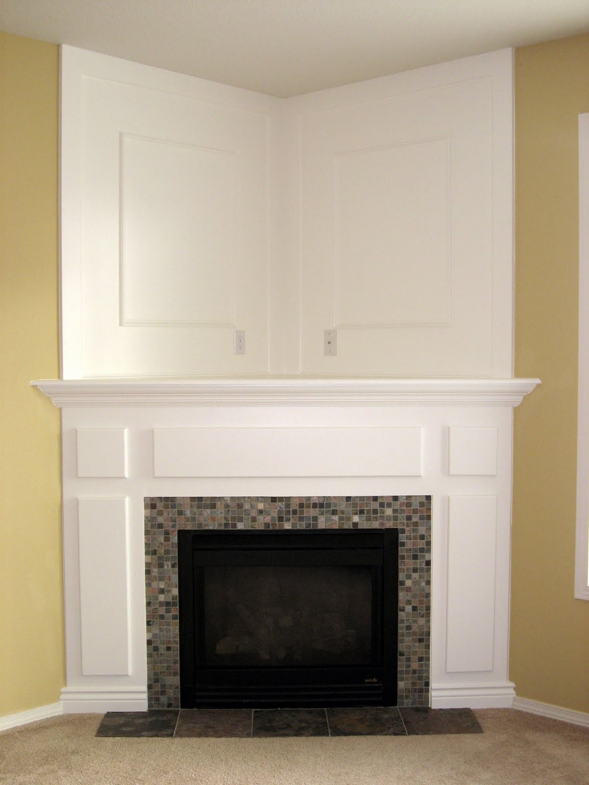 The dizzy house fireplace the reveal - Pictures of corner fireplaces ...