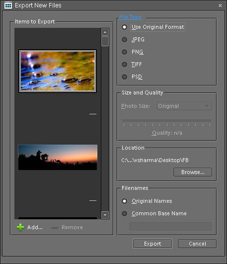 Posted by Ripple (VJ) : Preparing photographs for your Blog/Wesite by using Batch Processing in Adobe Photoshop Elements for resizing, renaming and exporting into new file-type: As discussed in last post we can also do batch processing in organizer for exporting low resolution files for my blog or website. I prefer this method when I don't need watermarks, because this mechanism does not support adding Watermarks.Lets come to the point and discuss how to do this. I will proceed with the workflow I prefer.1. SELECT YOUR FILES AND OPEN EXPORT DIALOGNormally I organize my similar or relevant photographs through Albums in PSE Organizer. I select my Album and it shows all the files in Organizer Image-well. Press CTRL+A to select all the files in album which I want to export. After Selection, Go to File > Export to New File(s). It will the dialog shown below: