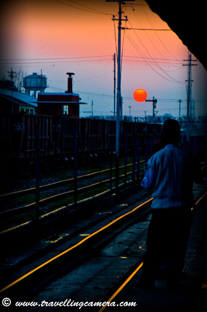While I was traveling back from Dalhousie, I happened to be at the right place at the right time. Fortunately, the direction of the railway station is such that you can see the sun set behind the railway tracks. Pathankot, Railway, Station, Sunset