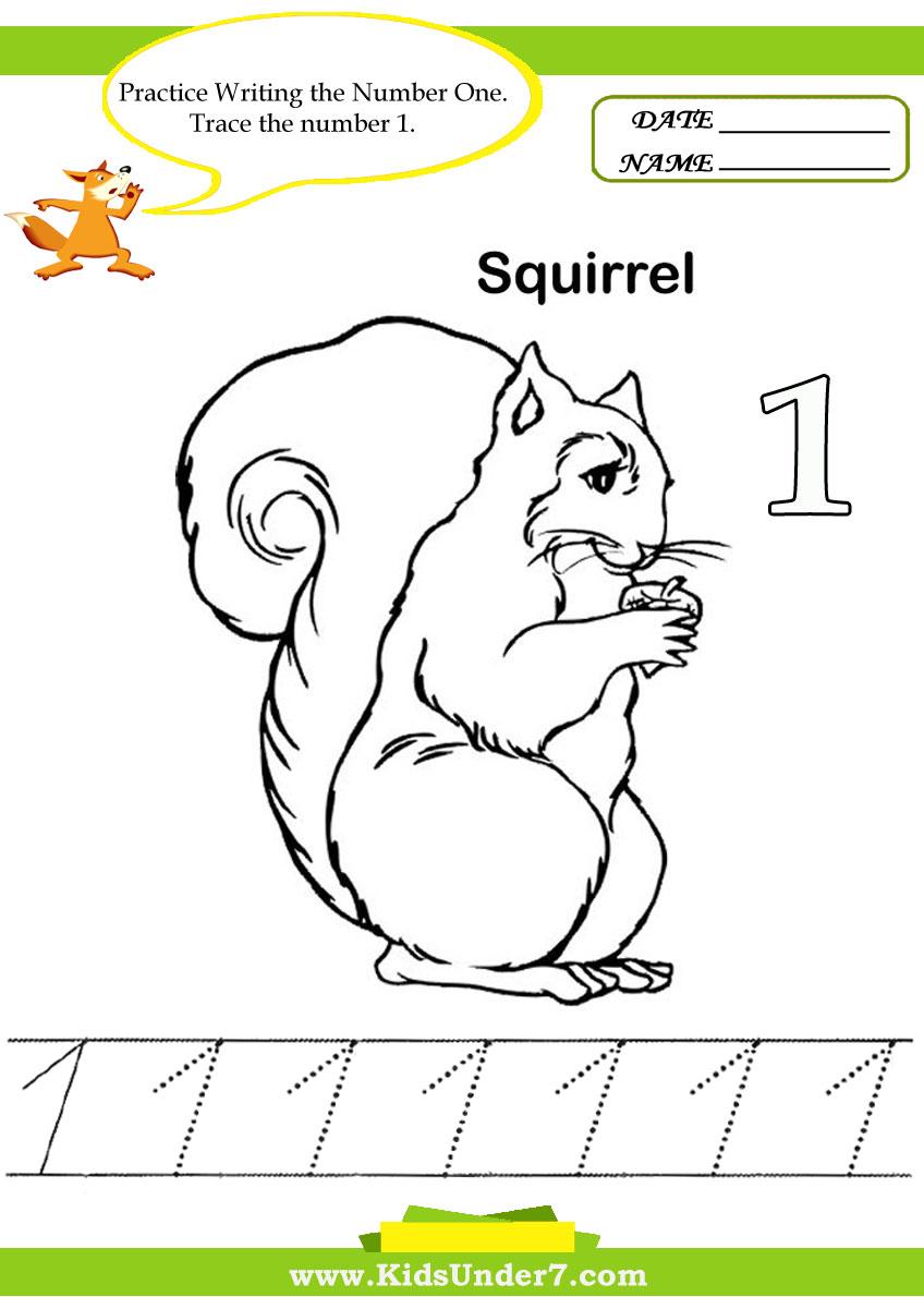 Kids Under 7: Number Tracing -1-10 - Worksheet. Part 1