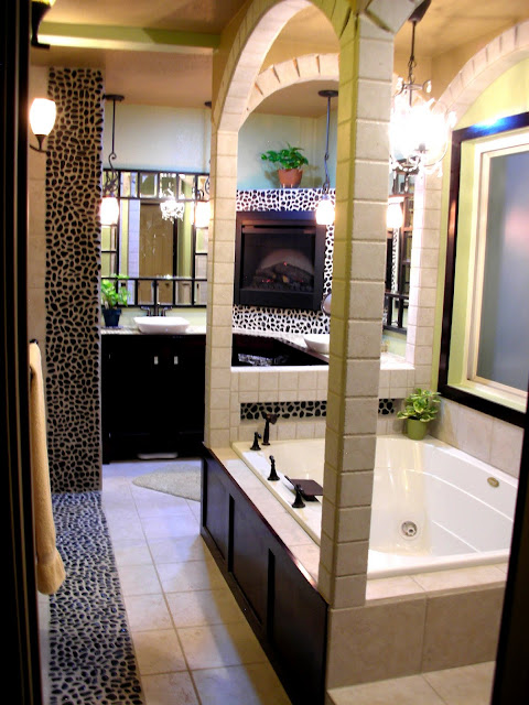 spa bathroom with river rock