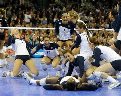 Penn State Celebrates Their 3 0 Win Over Stanford To The 2008 NCAA National Volleyball Championship Saturday Dec 20 In Omaha Neb
