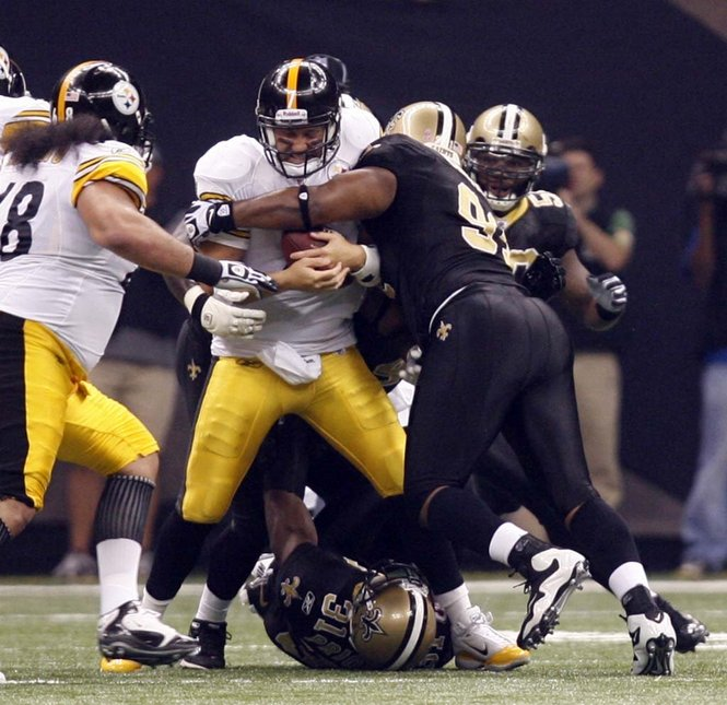 4f978d992a0 Steelers QB Ben Roethlisberger is sacked in the first quarter during the  game between the New Orleans Saints and Pittsburgh Steelers at the  Superdome on ...