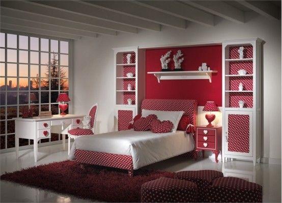 Quarto de menina branco e vermelho, decoração, cor, estilos e muitas idéias
