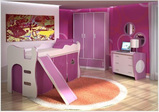 Quarto de menina pink, cama escorregador, decoração, cor, estilos e muitas idéias