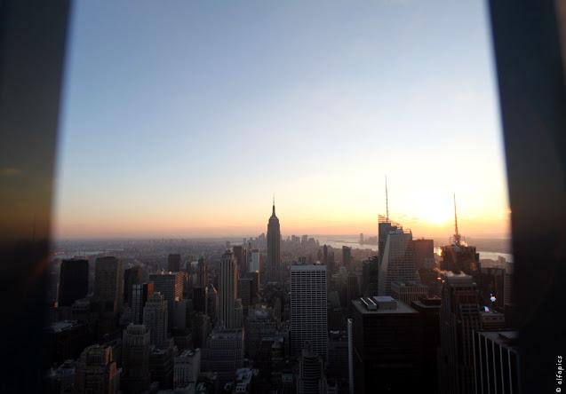 Empire state building e tramonto visti dal Top of the Rock-New York