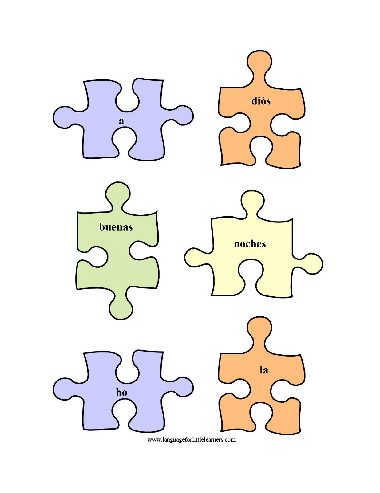 Language For Little Learners Spanish Puzzle Worksheet
