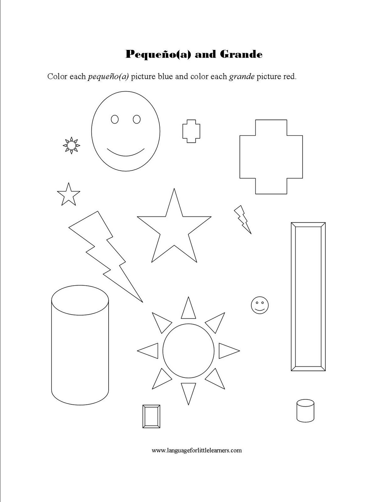 Spanish For Little Learners Spanish Small And Big Worksheet