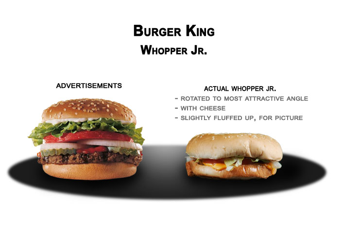 a fast food comparison advertised perception versus harsh reality