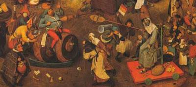 Brueghel:Combate entre o carnaval e a quaresma(1559)det.