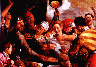 Charivari: S. José a dar a papa ao menino Jesus- Niccolò Frangipani (c.1555)