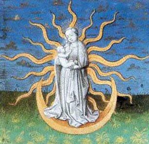 Um sinal aparece no céu, Le Miroir de l'humaine Salvation, Chapter XXXVI.Newberry Library, Chicago, Ms. 40, fol. 37 recto, séc XV