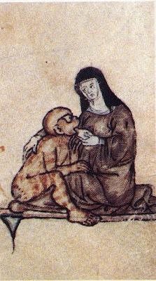 Freira amamentando um macacão, Iluminura do romance de Lancelote. John Rylands Library, Manchester.