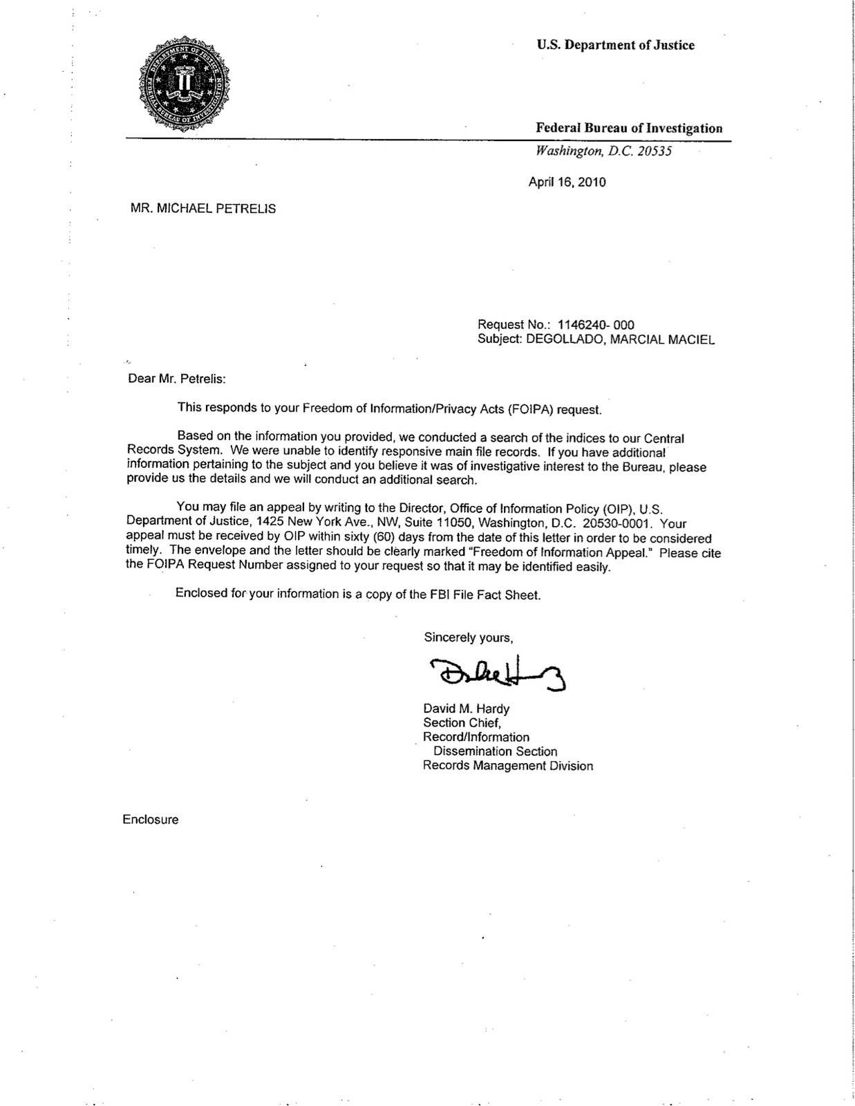 Petrelis Files April 2010