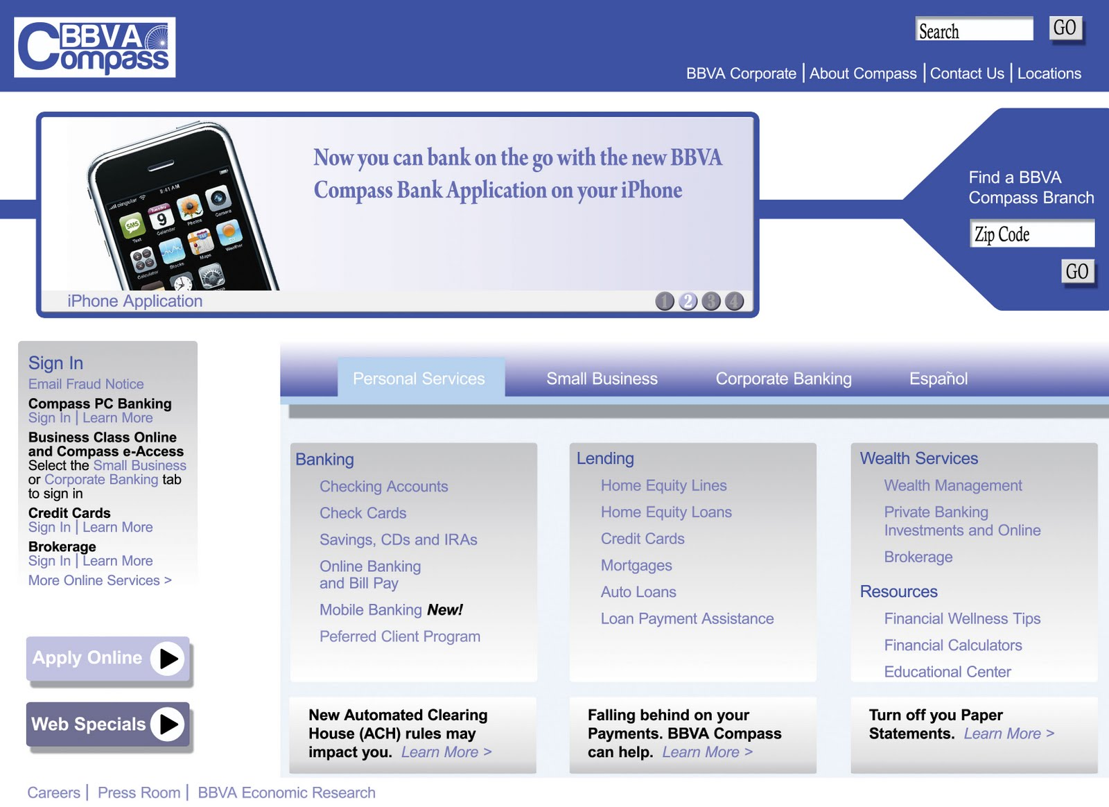 bbva compass bank official website