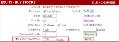 Learn The Tricks: StopLoss order on ICICIDIRECT