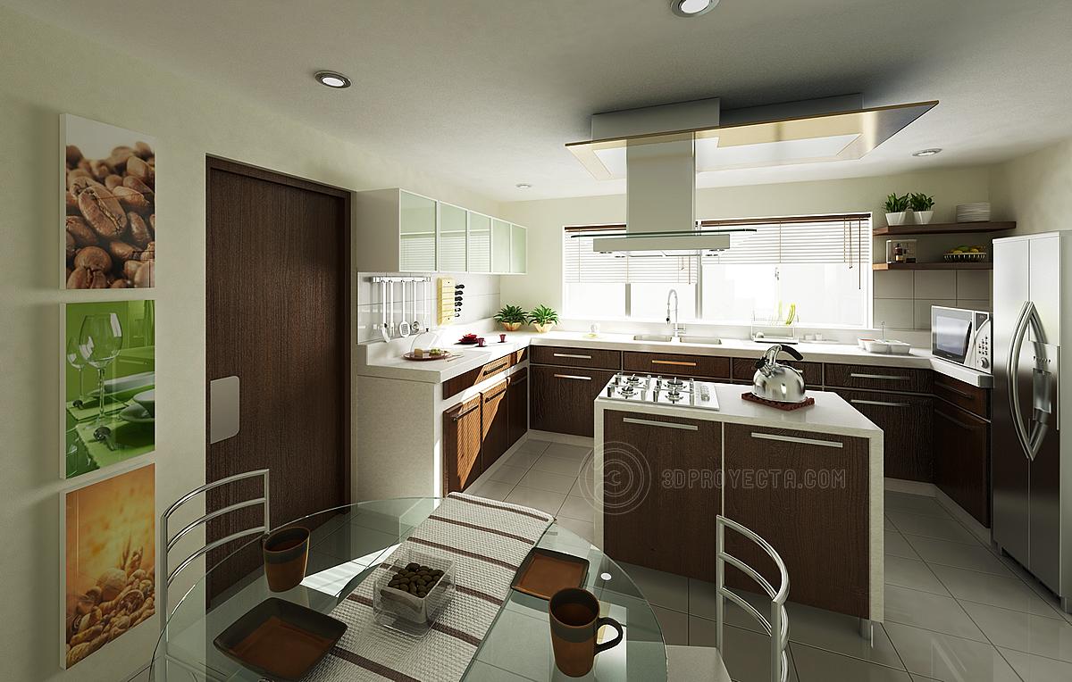 Vistas en 3d de cocina para edificio dammert for Cocinas de apartamentos modernos