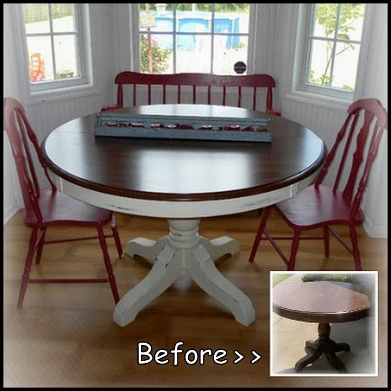 Dollar Store Crafter: Pedestal Kitchen Table Makeover