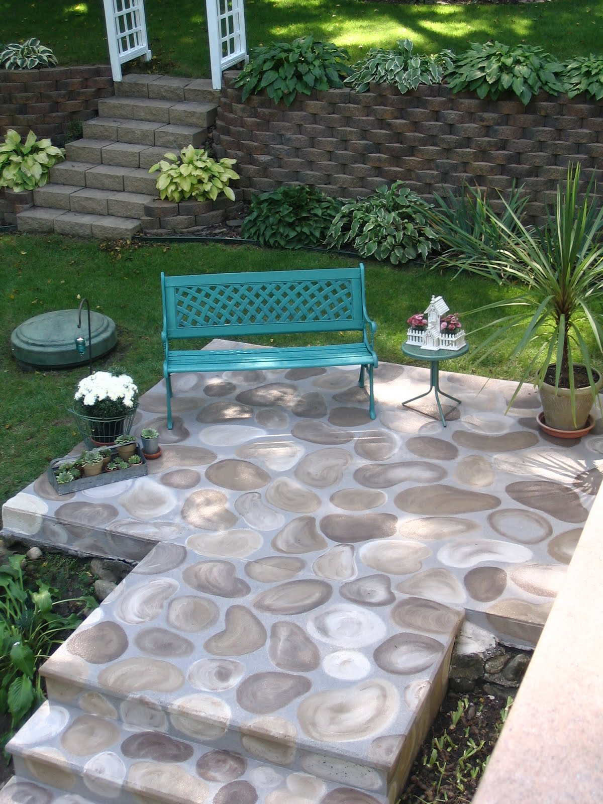 My Shabby Chateau: Turning and ugly concrete slab into a ... on Concrete Slab Patio Ideas id=74999