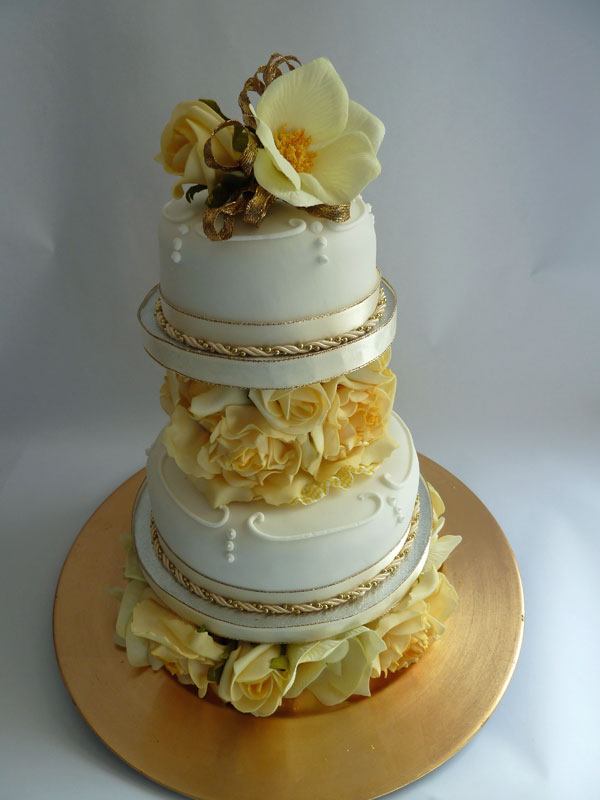 golden wedding cake ribbon with ribbon and easy golden wedding cake 14765