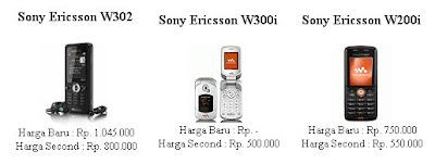 Harga handphone sony ericsson mei 2010