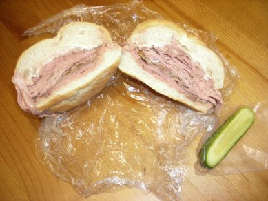 Maurice's roast beef sandwich with pickle