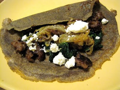 Buckwheat Crepes with Spinach, Onions, Sausage, and Feta (adapted from ...