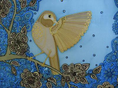 Nightingale, silk painting / lakštingala, šilko tapyba, paveikslas