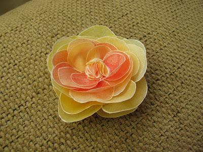 Silk painting, Silk flower yellow orange rose / Šilko tapyba, Šilko gėlė oranžinė gelsva rožė
