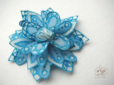 white and azure silk snowflake, flower from hand painted silk / balta ir žydra šilko snaigė