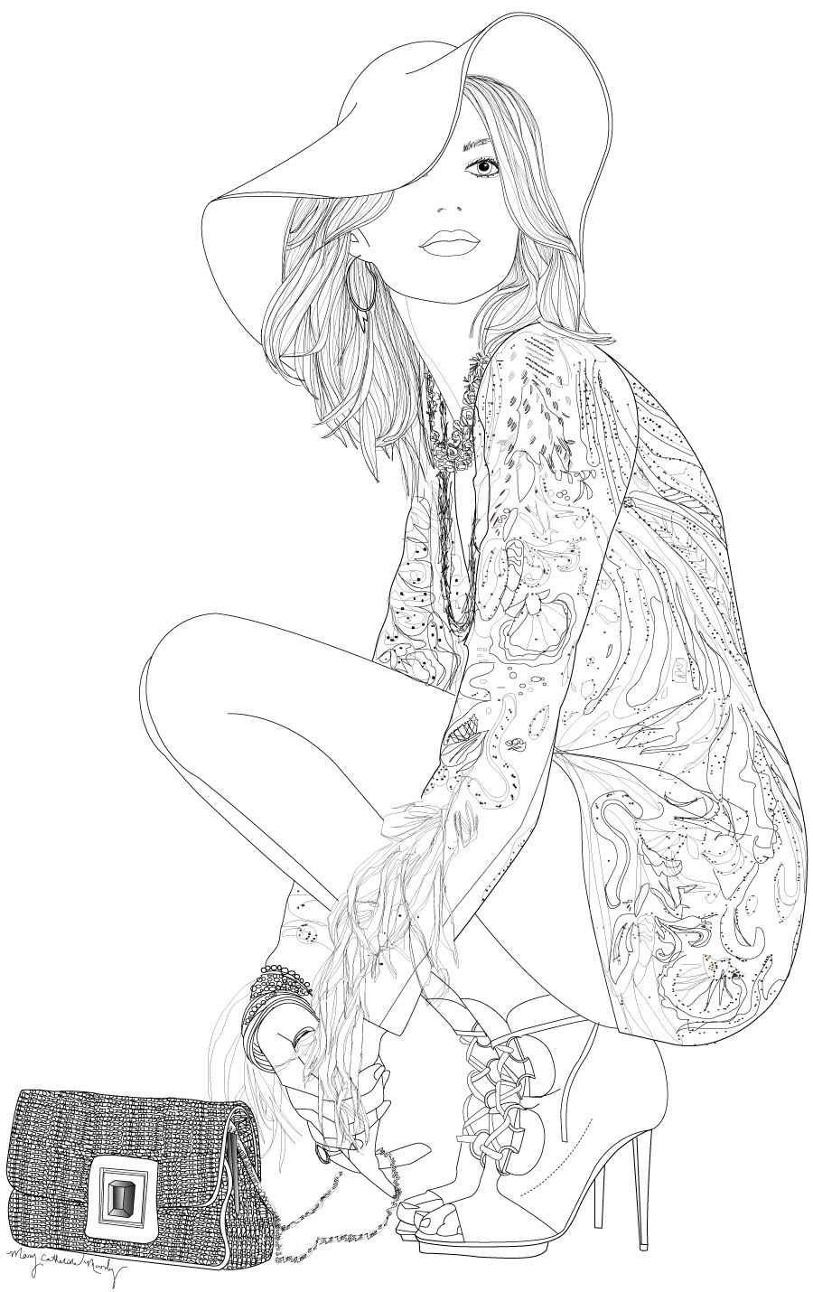 Coloring Page Grayscale Girl