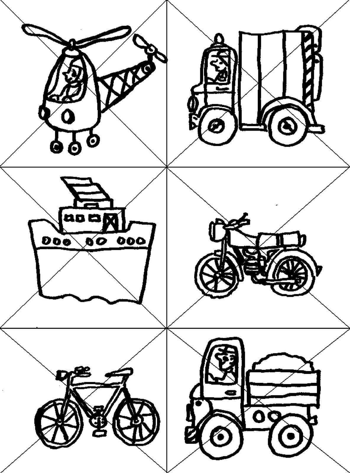 Disegni Da Ritagliare E Ricomporre Veicoli Elicottero Bici