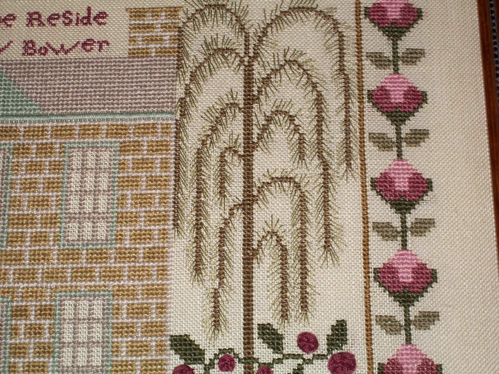 The Polka Dot Chicken October 2010 Someday Pink Floral Embroidery Top I Want A Weeping Willow Tree In My Yard Think They Are So Lovely This Sampler Is Part Of Trio Ewe Eye Pieces That Hang Together