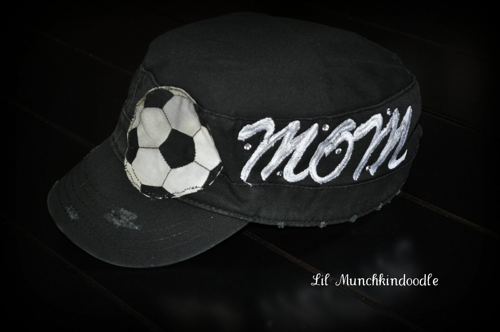 db892c3bf65 Distressed Black hat with soccer and embroidered MOM with rhinestones for  extra bling!