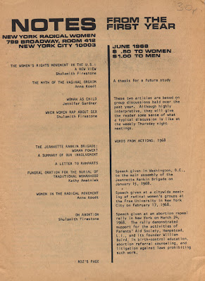Notes From The First Year, a women's periodical from 1968