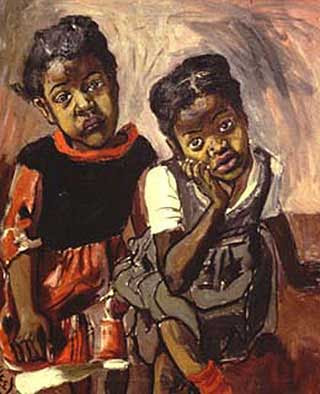 (Two Girls, Spanish Harlem painted by Alice Neel 1959