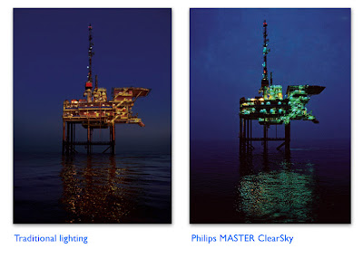 Former and new oil rig lighting comparison