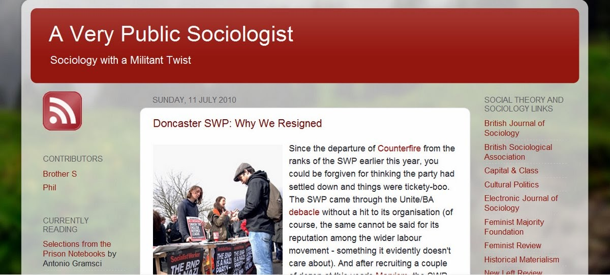 John's Labour blog: Sunday sectarianism: SWP branch resigns over