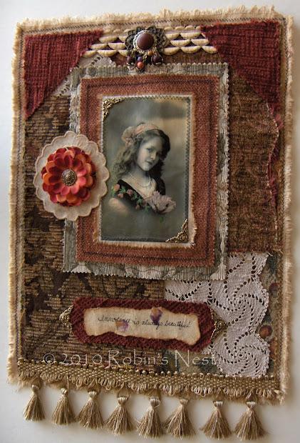 Robin' Nest Fabric Collage